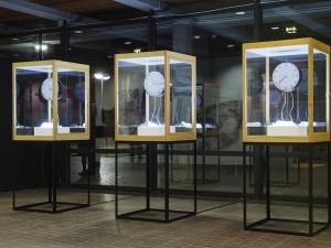 Takahiro Ueda Installation shots of Invisible Movements No. 1, 2, 3, 2013 Quartz, Analog clock, Steel, Acrylic, Wood, Signal generator Courtesy of the artist Image: Shinji Minegishi