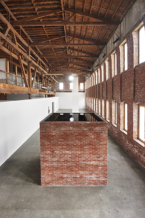 Water 2016 Brick, steel, wood, water 120 x 120 x 120 inches Image courtesy of the artist and JTT New York