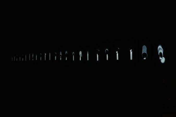 Youki Hirakawa  Installation shot of Fallen Candles, 2014 as part of Nuit Blanche Video London Courtesy of the artist