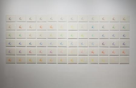 Kouichi Tabata 72 colours (Birds), 2014 72 pieces of the original A4 drawings Courtesy of the artist and Gallery Koyanagi Image: Tom de Gay