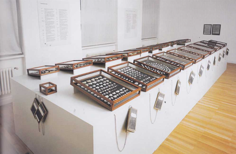 Ingeborg Lüscher, Heart on the way to Becoming, 1975 22 showcases and one textbook. Installation view.