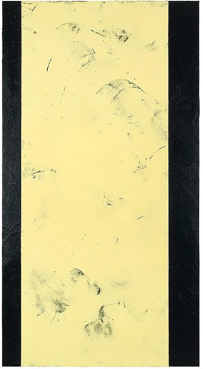 Ingeborg Lüscher, Ohne Titel, 1993 Sulphur, ash and acrylic on jute over wood, 215 x 115 x 5 cm