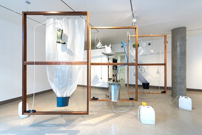 Moré Moré [Leaky]: The Falling Water Given #4-6, Installation view at White Rainbow, London, 2017 Wood Frames, found objects, water pump system