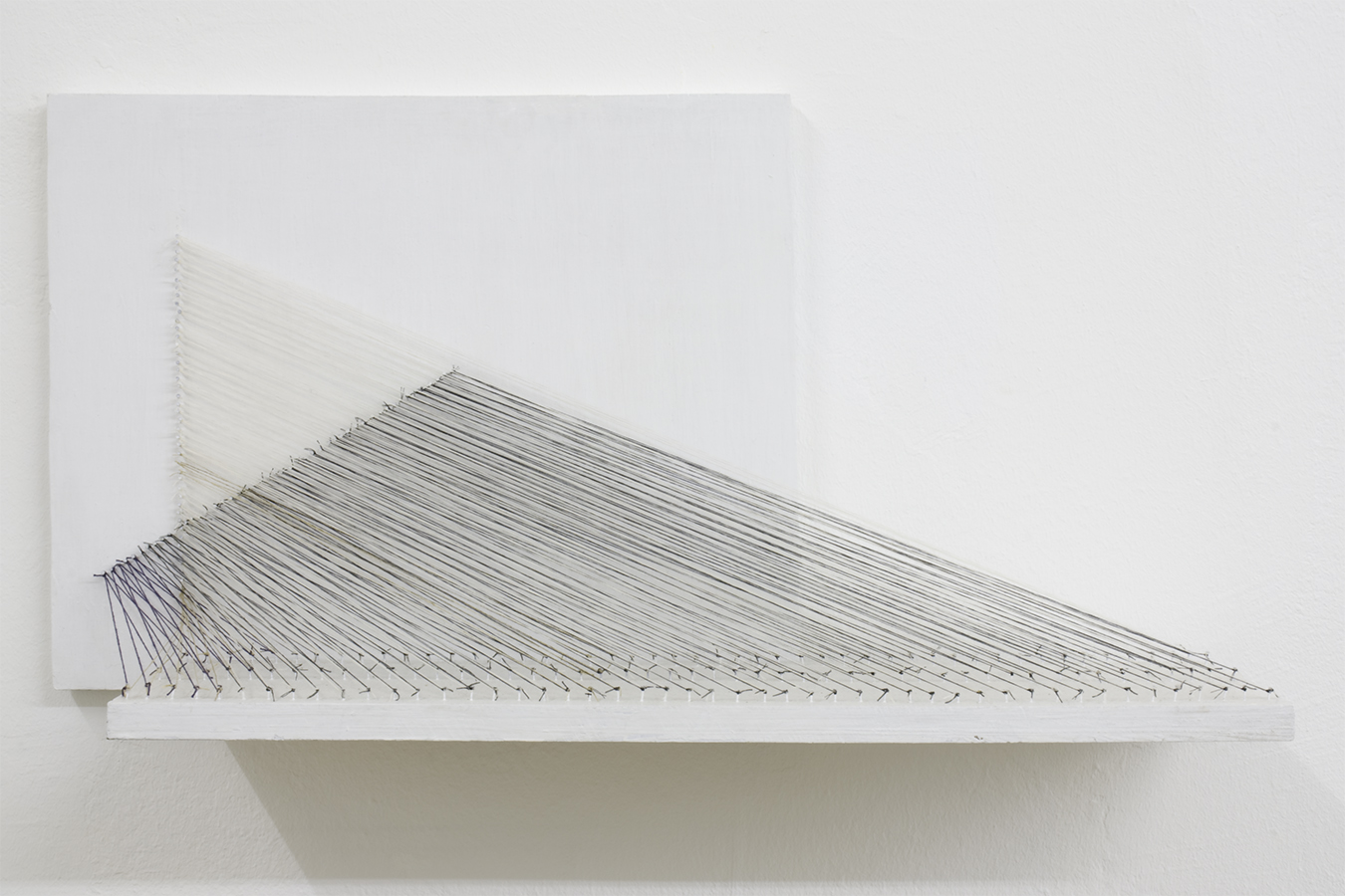 Kazuko Miyamoto, 'Untitled (model for a string construction)', 1971 Industrial cotton string, nails and painted wood, 35.7 × 69 × 17 cm Image courtesy EXILE, Berlin